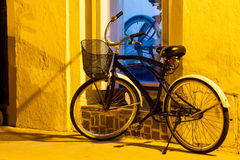 Bicycle at Cartagena de Indias. Under tungsten street light Royalty Free Stock Photos
