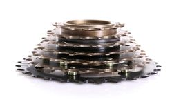 Bicycle cassette. On white background stock photography