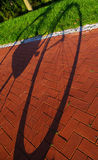 Bicycle casting a shadow on the sidewalk and lawn Stock Image
