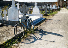 Bicycle in cemetery Royalty Free Stock Photography
