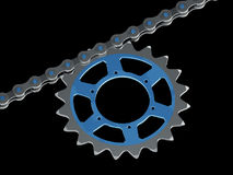 Bicycle chain with chainring Stock Photography