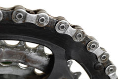 Bicycle chain and gears isolated Royalty Free Stock Image
