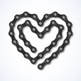 Bicycle chain heart. Illustration Stock Photo