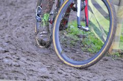 Bicycle chain with mud in a race Stock Image