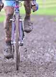 Bicycle chain with mud in a race Stock Images