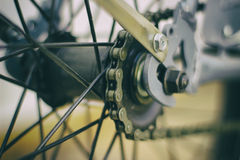 Bicycle chain and spokes close up Stock Image