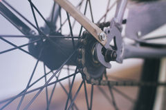 Bicycle chain and spokes close up Royalty Free Stock Images