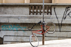 Bicycle Chained to a Post Stock Image