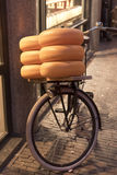 Bicycle with Cheeses Amsterdam Stock Photo