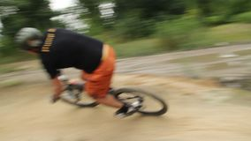 Bicycle circuit race BMX bikes competition beat opponent. Stock footage stock video footage
