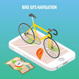 Bicycle city navigation concept poster in vector isometric style. Bike on a screen of mobile phone. Online map on Royalty Free Stock Image