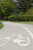 Bicycle city path. City bike path asphalt area Royalty Free Stock Images