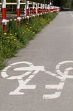 Bicycle city path. City bike path asphalt area royalty free stock photo