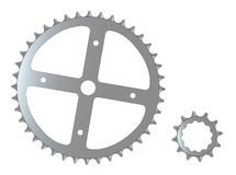 Bicycle Cogs. The front and rear gearing cogs of a typical bicycle Stock Photography