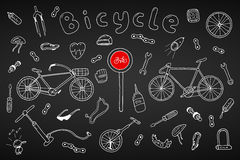 Bicycle collection in doodle style.Hand drawn Royalty Free Stock Photo