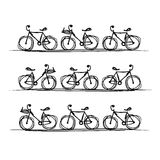 Bicycle collection, sketch for your design Royalty Free Stock Image