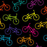 Bicycle colorful seamless on black background Royalty Free Stock Photo