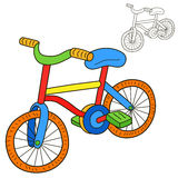 Bicycle. Coloring book page. Cartoon vector illustration royalty free illustration