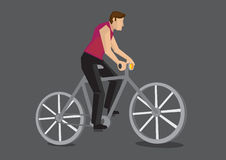 Bicycle Commuter Cartoon Vector Illustration. Vector illustration of the side view of a faceless cartoon man riding a bicycle  on grey background Stock Photos