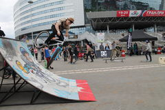 Bicycle. Competition for BMX ,Sport extreme festival Minsk Street Gamez, May, Minsk, 2015 Stock Photos