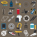Bicycle components. Big icons set of bicycle components, parts and accessories. Flat style, EPS 8 Stock Photos