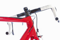 Bicycle Concept. Partial View of Professional Road Bike Handlebars. With White Grip Tape. Against White. Horizontal Image Composition Royalty Free Stock Photos