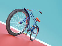 Bicycle concept poster design, retro bike render,  on color backgound with place for text. sports hipster ride summer even Stock Image