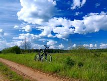 Bicycle in countryside Stock Photography