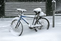 Bicycle covered with snow Stock Image
