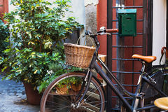 Bicycle on cozy street Royalty Free Stock Photography