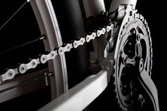 Bicycle crank, chain and derailleur. Studio shot of bicycle crank, chain, derallieur and rear wheel Royalty Free Stock Photography