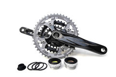 Bicycle crank. For mountain bike with bottom brackets Stock Images