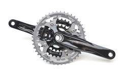 Bicycle crank. For mountain bike isolated on white Royalty Free Stock Images