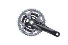 Bicycle crank. For mountain bike isolated on white Stock Photos