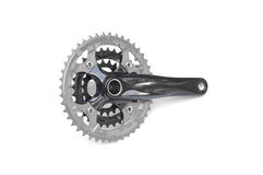 Bicycle crank. For mountain bike isolated on white Royalty Free Stock Photos
