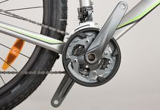 Bicycle crank set, chain and front derailleur,close up view, stu royalty free stock photos