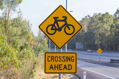 Bicycle crossing ahead. Bicycle Crossing Sign , New South Wales, Australia Royalty Free Illustration