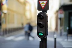 Bicycle crossing light in Paris Stock Photos