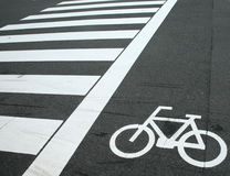 Bicycle crossing sign Stock Image