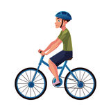 Bicycle, cycle, bike rider, cyclist wearing helmet, side vew, personal transport Stock Photos