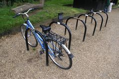 Bicycle or cycle racks at a parking area Royalty Free Stock Image