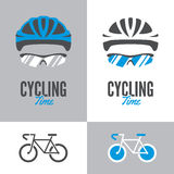 Bicycle, cycling helmet and glasses. Bicycle icon and graphic sign with cycling helmet and glasses in two color variations vector illustration