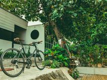 33 - Bicycle Cycling Park by the coffee shop along the canal stock photo