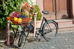 Bicycle decorated with flowers Royalty Free Stock Photo