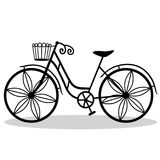 Bicycle with decorative wheels. Bicycle. Wedding bicycle. Bicycle with decorative wheels, isolated on a white background. Vector illustration Stock Photos