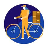 Bicycle Delivery Woman. flat character design vector illustratio stock illustration