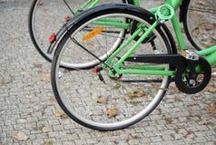 Bicycle detail on street Stock Photos