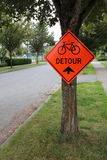 A Bicycle Detour Sign Royalty Free Stock Photography