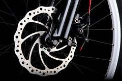 Bicycle disc brake. Front disc brake on mountain bike Royalty Free Stock Image