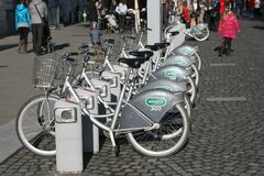 Bicycle docking station in city center. Bicikelj Royalty Free Stock Photography